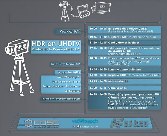 "Vicomtech-IK4 organises the Workshop ""HDR in UHDTV, the future of TV goes beyond HD"""